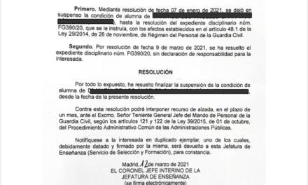 UnionGC informa que queda libre de responsabilidad disciplinaria la Guardia Civil Alumna suspendida en Lanzarote