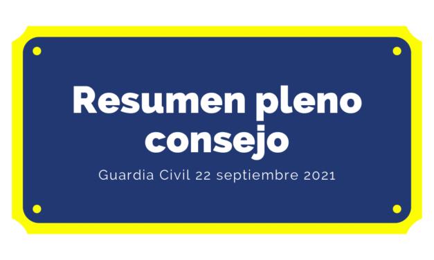 Resumen del Pleno del Consejo de la Guardia Civil del 22 de septiembre de 2021